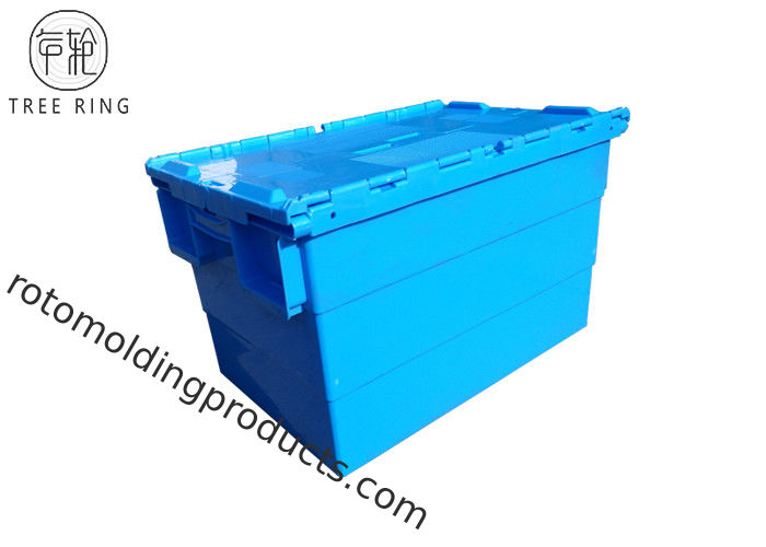 Hard Collapsible Plastic Crate With Attached Lid For Storage 600 * 400 * 360mm