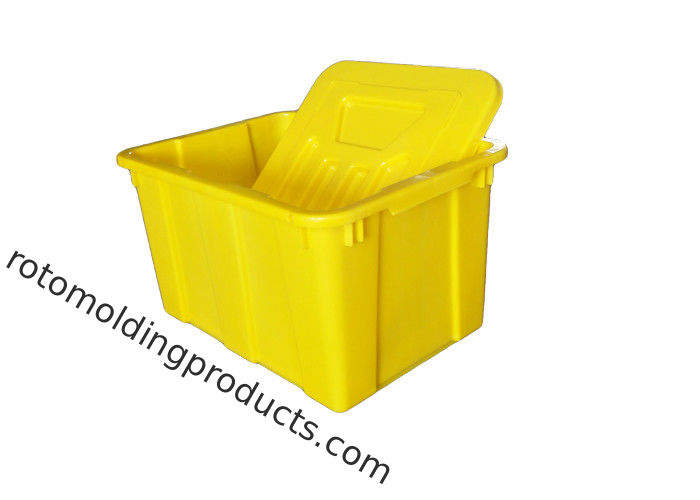 Yellow Colored Plastic Bin Boxes With Lids For Commercial Curbside Recycling