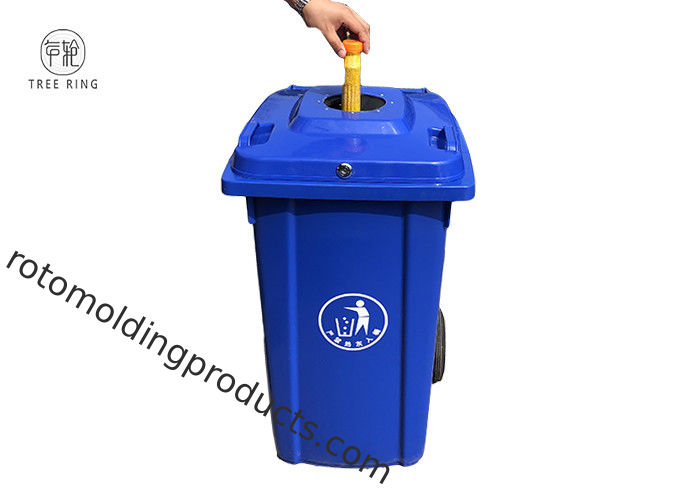 Customized Recycling Locakable Garbage Wheelie Bin 240l Blue With Bottle Lids Locked