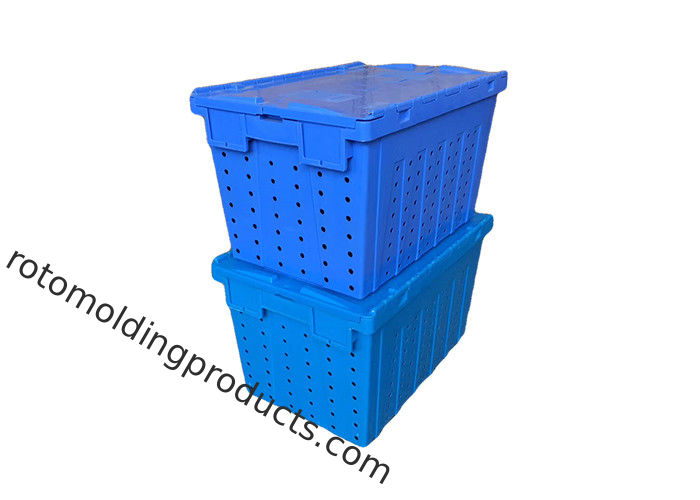 Stack And Nest Plastic Mesh Container With Attached Lids 600*400*360mm